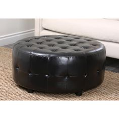 Abbyson Living Bentley Bonded Leather Round Cocktail Ottoman | Overstock.com Shopping - Great Deals on Abbyson Living Ottomans