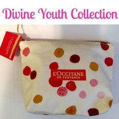 Gift Set From Occitane Youth Collection This is a cute dotted cloth bag that carries youth promoting natural goodies. All L'occitane favorites. Includes 1.7 oz Precious Cleasing Foam, two small Shaka butterhandcream tubes,Jasmine Immortelle Neroli soap and luxury travel size Amande Shower Oil. Altogether tummy! lOccitane Makeup