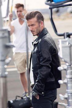 David Beckham Men Black Biker Leather Jacket