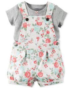 Carter's Baby Girls' 2-Piece Gray T-Shirt & Rose-Print Shortall Set