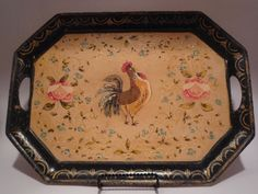 Vintage Wood Rooster Serving Tray Hand Painted 16 by TroveMagpie