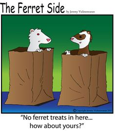 two ferrets talking to each other from inside paper bags