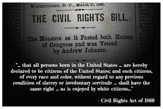 The Opening Punch for Civil Rights: The Civil Rights Act of 1866
