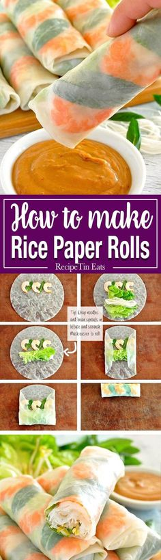 Fresh and healthy Vietnamese rice paper spring rolls with an amazing peanut sauce. Plus TWO secret tips to make it super easy to roll them… Healthy Recipes Vietnamese Rice Paper Rolls Rice Paper Spring Rolls, Vietnamese Rice Paper Rolls, Vegetarian Recipes, Cooking Recipes, Cooking Ideas, Dishes Recipes, Rice Recipes, Recipes Dinner, Rice Paper Recipes