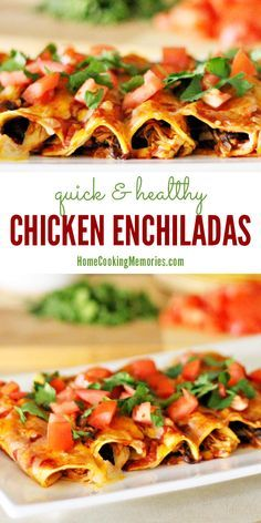 This healthier version of chicken enchiladas is quick & easy to make -- and it even includes a homemade enchilada sauce! The corn tortillas are rolled up with chicken and black beans. It's topped with a bit of cheese, fresh tomatoes, and cilantro. YUM!
