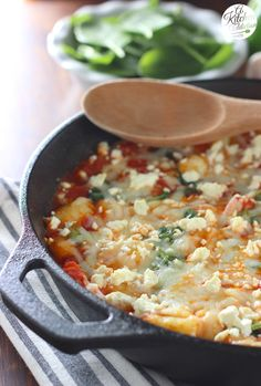 30 Minute Cheesy Gnocchi Skillet with Tomatoes and Spinach from @akitchenaddict