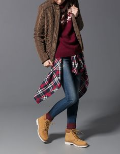 Warm Outfits, Winter Outfits, Cool Outfits, Casual Outfits, Tomboy Fashion, Cute Fashion, Fashion Outfits, Timberland Boots Outfit, Timberlands