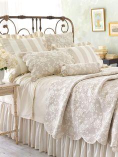 Pine Cone Hill Madeline Cafe Au Lait Floral & Striped Quilts & Shams @ J Brulee Home