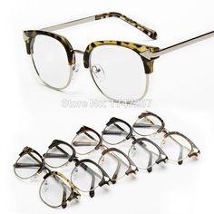0e6af5c618a8 Aliexpress.com   Buy BYLEN Nerd Glasses Women Eyeglasses Vintage Half Frame  Clear Lens Eyewear men arrow Metal Retro plain glasses 5 colors from  Reliable ...