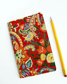 Paisley pocket journal - Altered Moleskine Cahier notebook sketchbook / Yuzen Yellow, Green & Pool Paisley Fine Paper