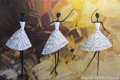 ORIGINAL Art Abstract Dancer Painting White por ChristineKrainock