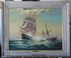 Have one to sell? Sell it yourself   Frank NICOLETTE Nautical Marine Painting USS Constitution vs HMS Guerriere  Offered with NO RESERVE!