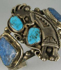 Navajo Turquoise and Lapis Kokopelli Bracelet