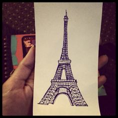 A pensketch I made of Eiffel Tower back in 2012 after my visit for my Europe Travel Journal Stamp Collecting, Genealogy, Journal, Blog, Tower, Europe, Travel, Viajes, Lathe