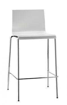 Design Barhocker weiß, Barstuhl weiß - chrome, Sitzhöhe 67 cm