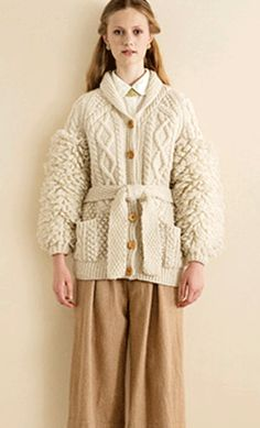 This mix of textures is an unusual spin on the traditional bainin jacket.