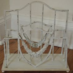 Magazine Rack Vintage Shabby Chic White Painted by MollyMcShabby, $45.00