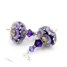 Purple Black Earrings, Lampwork Earrings, Glass Earrings, Glass Bead Earrings, Beadwork Earrings, Beaded Earrings