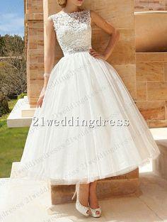 Tea Length High Neck Lace Wedding Dress,Sleeveless Beaded Belt Short Beach Wedding Gown,White ivory Beach Wedding Dress,Bridal Dress