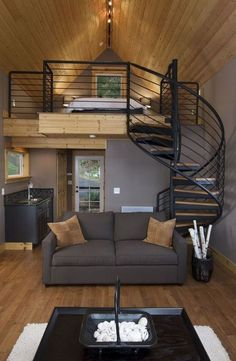 These small living room ideas will expand your tiny spaces into a cozy living room. Simple step you can surely do to boost your small living room ambience! Loft Stairs, Loft Railing, Stair Railing, Transitional Living Rooms, Transitional Windows, Tiny Spaces, Tiny House Living, Small Living, Living Area