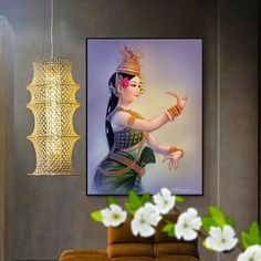 Dance Paintings, Pictures To Paint, Cambodia, Tinkerbell, Table Lamp, Disney Princess, Disney Characters, Home Decor, Art
