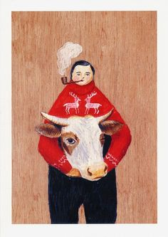 by Sandra Eterovic.  I am a sucker for anyone smoking a pipe...  and holding a cow head... and wearing a crazy sweater...