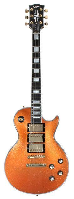gibson custom shop - 1970s les paul custom. orange sparkle 3 pickup.