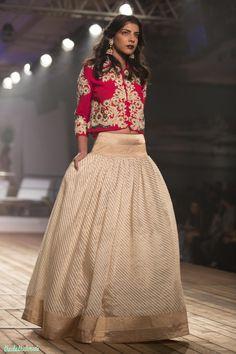Gold & ivory striped Silk Lehenga with Embroidered Earthy Red Jacket - Monisha Jaisingh - Amazon India Couture Week 2015