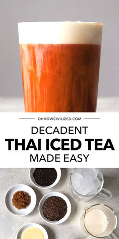 Delicious and refreshing, this Thai iced tea from Oh, How Civilized is perfect any time of day! Don't just make any Thai iced tea, make the absolute best one. This delicious and decadent drink tastes even better than the ones you've had at Thai restaurants! #thaitea #tea #easyrecipe #icedtea #teatime Iced Tea Recipes, Drink Recipes, Best Thai, Thai Tea, Tea Sandwiches, Brewing Tea, Summer Drinks, High Tea, Drinking Tea