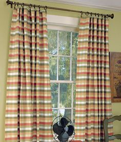 curtains from Country Curtains catalog for living room - I've liked for years and actually painted the livingroom in these colors. They're quite expensive so I keep checking JoAnnes Fabrics for similar fabric to make my own. Gotta have gold, green and red in them!