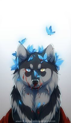 The white wolf was covered in cuts and gashes, and it's blood ran lavender. That wolf had been me, and when Holly wrote that book, she probably knew that I would find it. Pet Anime, Anime Animals, Anime Neko, Anime Wolf Drawing, Furry Drawing, Furry Wolf, Furry Art, Tier Wolf, Cute Wolf Drawings
