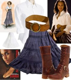 django broomhilda skirt belt shirt horse outfit