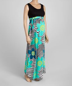 Love this Green & Black Contrast Maternity Maxi Dress by GLAM on #zulily! #zulilyfinds