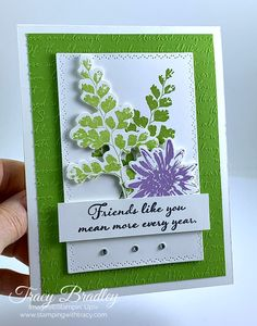 Create a beautiful card using the stamp set Positive Thoughts and the coordinating Nature's Thoughts Dies (available on Feb. Making Greeting Cards, Greeting Cards Handmade, Friendship Cards, Cards For Friends, Sympathy Cards, Stamping Up, Flower Cards, Positive Thoughts, Homemade Cards