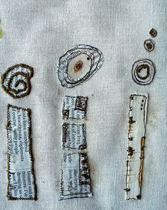 Circles and blocks; newspaper and stitch on fabric Textile Fiber Art, Textile Artists, Embroidery Art, Embroidery Stitches, Sewing Art, Fabric Paper, Fabric Manipulation, Needlework, Collage