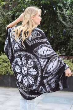 Floral Kimono Scarf - Black