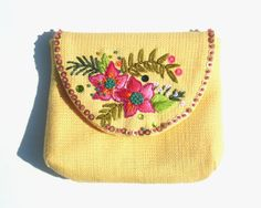 Yellow Summer Purse // Pink Green Floral Embroidered by MaviMakara, $27.00