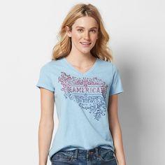 Women's Patriotic Graphic V-Neck Tee, Size: