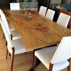 Tavolo Butterfly: tavolo con top in legno massello di castagno o rovere