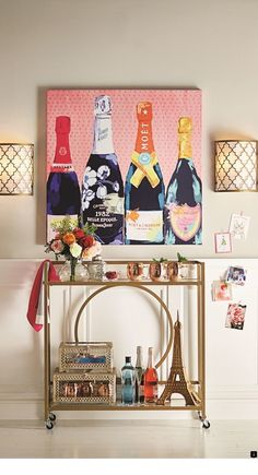 Dining room with bar, dining decor, art for home, diy bar Diy Bar Cart, Gold Bar Cart, Bar Cart Styling, Bar Cart Decor, Bar Carts, Cafe Bar, Diy Décoration, Bar Furniture, New Wall