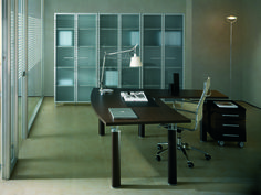 Angular workstation Wengè finish with library with doors in Satin glass and aluminium frame  //  ---  //  Postazione angolare finitura Wengè con libreria ante in vetro satinato e profili in alluminio