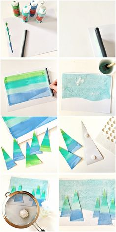 A lovely colorful winter art project for … Winter Holiday Tree Squeegee Painting. A lovely colorful winter art project for kids with a unique painting method. Christmas Art Projects, Winter Art Projects, Winter Crafts For Kids, Projects For Kids, Art For Kids, Kid Art, Winter Kids, Diy Christmas, Craft Projects
