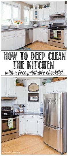 Step by step plan to help you deep clean your kitchen. Free printable included. //cleanandscentsible.com /// Excellent!