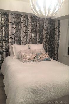 ideas birch tree wallpaper bedroom for 2019 Tree Wallpaper Room, Birch Tree Wallpaper, Old Wallpaper, Trendy Wallpaper, Black Wallpaper, Bedroom Wallpaper, Wallpaper Ideas, Bedroom Murals, Bedroom Decor