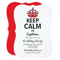 Keep Calm Eighteenth Birthday Card