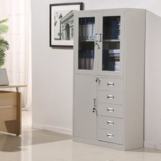 Professional Factory Supply Office Furniture Swing Door Metal Filing Cabinet With Drawer