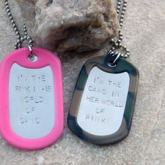 His/Hers I'm the Pink in His World of Camo I'm the by WireNWhimsy, $50.00 I HATE PINK BUT LOVE THIS!!!