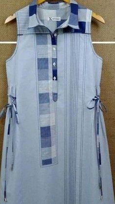 Beautiful detailing with checks and stripes. Diy Clothes Refashion, Shirt Refashion, Denim Kurti, Kurta Style, Kurta Neck Design, Kurti Patterns, Kurti Designs Party Wear, Indian Designer Wear, Denim Fashion