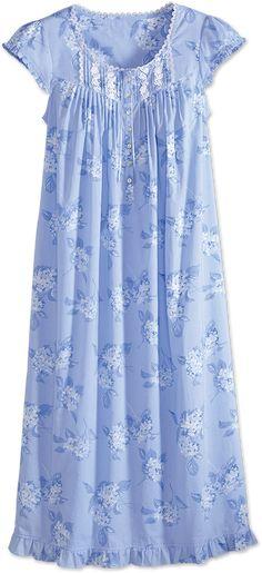 Eileen West All-Cotton Nightgown with Hydrangea Print Night Wear Dress, Night Dress For Women, Dress Neck Designs, Blouse Designs, Cotton Nighties, Pijamas Women, Nightgown Pattern, Dame, Fashion Dresses