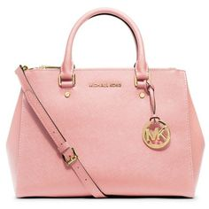 Women's MICHAEL Michael Kors 'Medium Sutton' Saffiano Leather Tote ($305) ❤ liked on Polyvore featuring bags, handbags, tote bags, blossom, handbag tote, structured tote bag, pink tote bag, michael michael kors handbags and flower purse